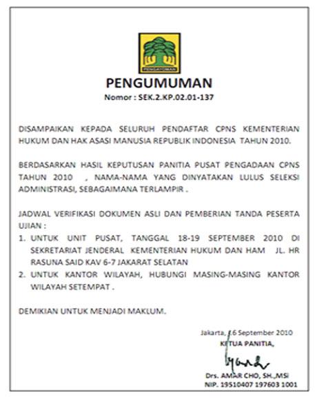 pengumuman hasil seleksi administrasi cpns depkumham tahun 2010
