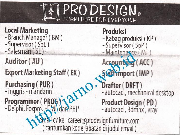 lowongan pro design